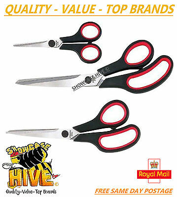 3Pc Scissor Set Crafts Sewing Gardening Comfort Grip Stainless Steel Scissors