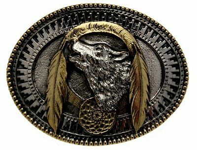 Gold Plated Wolf Indian Design Belt Buckle In a Gift Box + Display Stand.
