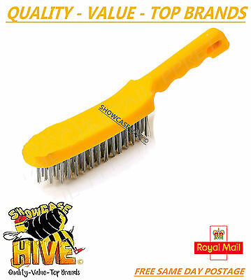 1 X Heavy Duty 4 Row Stainless Steel Wire Hand Brush Cleaner Diy Hand Tool New