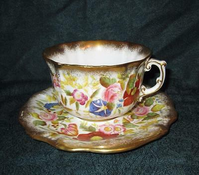 Vintage Hammersley Queen Anne Pattern Large Breakfast Cup & Saucer ~ Thick Gold