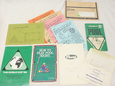 Pool Billiard Book Pamphlets-Tournament Guides-Rules-How To Play Pool Right-More