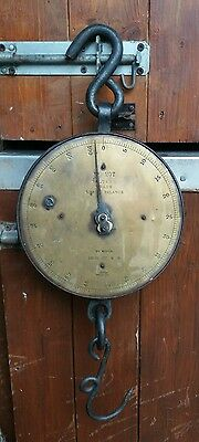 Vintage Salter's Trade Spring Balance 100 LB Brass Faced Scales Dairy No. 20T