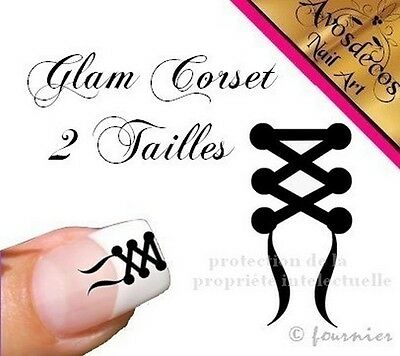 20 sticker ongles nail art decoration ongle stickers glamour love corset n°2
