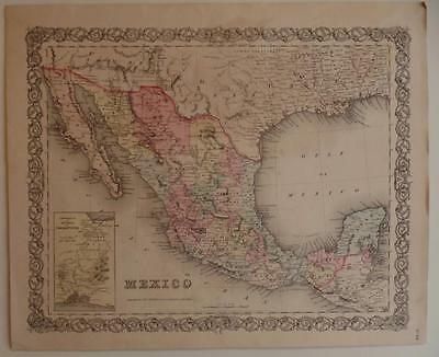Antique 1855 Mexico Texas Map Colton's General Atlas Published New York 1855