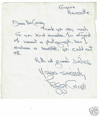 """Peggy Cavell (""""The Cartoon Girl"""") Theatre act Hand Written signed Letter"""