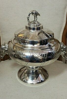 Antique  figural  silverplate soup tureen with  bird finial &  elephant  handles