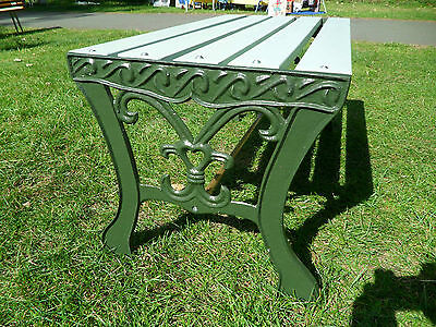 Upcycled Garden patio Table /Bench seat cast iron ends slatted wood top Green