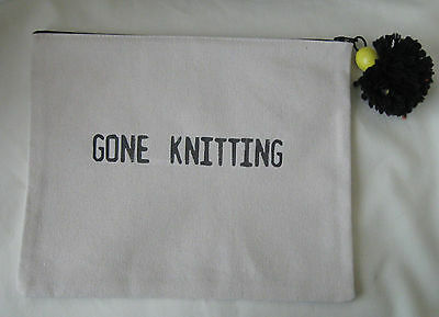 Canvas Project Tote Bag Gone Knitting Crochet
