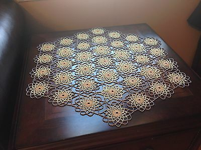 HAND MADE,CROCHET Gold &Luster Brown BEADED  DOILY,TABLE TOPPERS,PLACEMATS DOILY