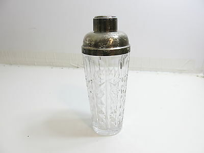 Antique / Vintage Signed Heavy Crystal Cocktail Shaker Silver Plated Top / Italy