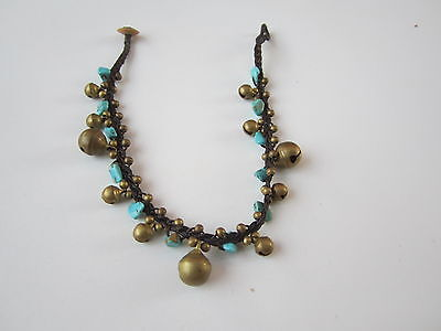 Handcrafted Thai Anklet  Brass Beads Bells Jingle Turquoise  Stone Pattern 14