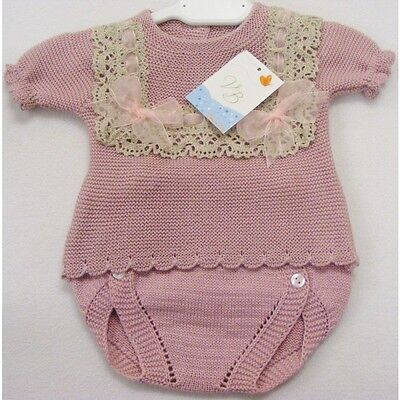 Baby Girls Spanish Knitted 2 Piece Set Organza And Lace Trim  Dusky Pink Various