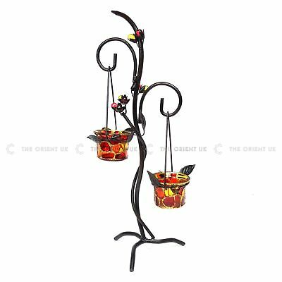 Tealight Glass Candle Holder Tree Plant Style Leaves Metal Stand Candles Cups