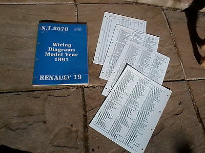 Renault 19 Wiring Diagrams 1991 Supplement Nt 8070 English Edition