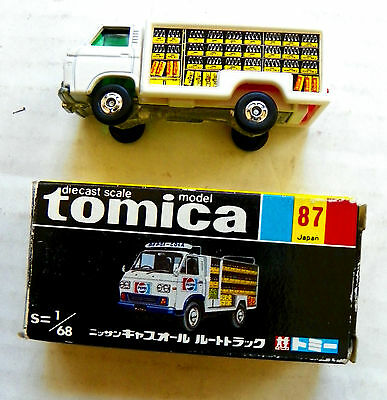 "1970's (TOMICA) ""PEPSI-COLA"" NISSAN CABALL DIE-CAST METAL ROUTE TRUCK #87 IN BOX"