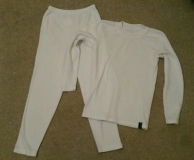 White Thermal Top and Bottoms Age 9-10