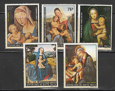 Burkina Faso 1973 Christmas Paintings Sc C129-C133 complete mint never hinged