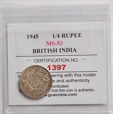 1945 British India 1/4 Rupee - MS UNC