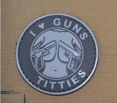 I Love Guns and Titties PVC Velcro Fun patch