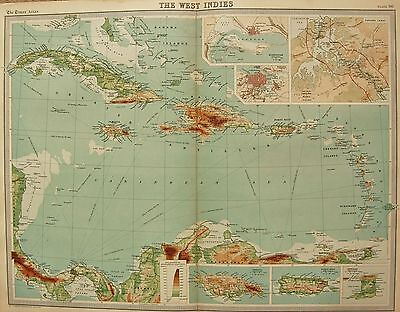 1920  Large  Map : The West Indies, Panama, Environs Kingston, Havana,jamaica,po