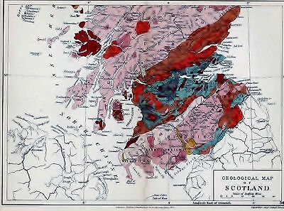 1904 Geological Map Stanford Scotland Central And Southern