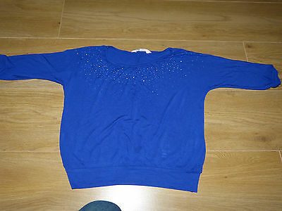 H&M girls blue/navy top with sequins size 9-10