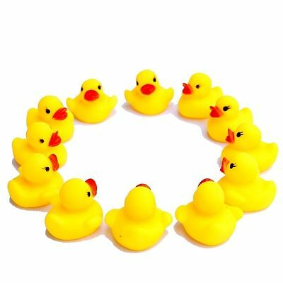 12 X Rubber Colour Yellow Ducks Fun Kids Bath Squeaky Toy Baby Duck New