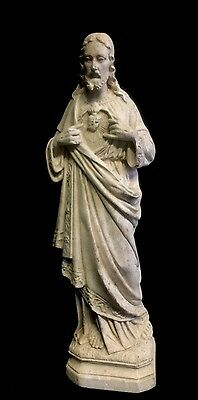 Stunning French Antique Plaster Statue of Christ , Madonna Crucifix