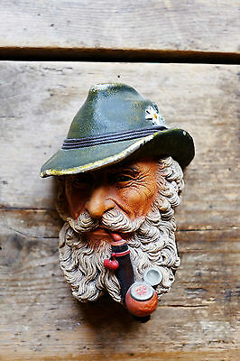 Superb Vintage Bossons Tyrolean Mountain Man Smoking Pipe Chalkware Plaque c1972