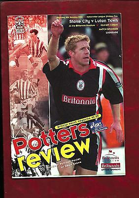 1999/2000 Stoke City v Luton Town football programme
