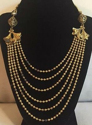 Antique Gold Tone Chatelaine Multi Strand Etruscan Old Clasp Statement Necklace