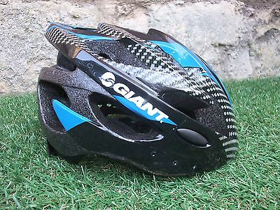 Giant Cycling Road Bike Helmet ~ Carbon ,Black & Blue ~ Large In Good Condition