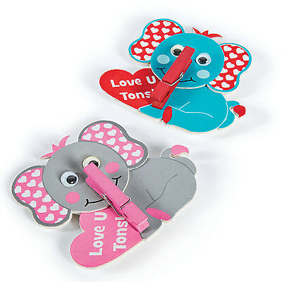 12 Elephant Clothespin Arts & Craft Valentine's Day CARD EXCHANGE Party Favor