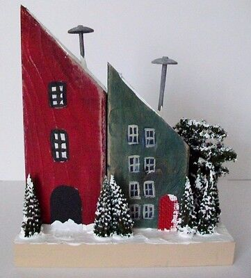 Handmade Wooden Red And Green Houses In The Snow Decorative Folk Art Sculpture