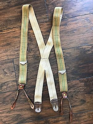 Police Brace Suspenders Vintage Striped Leather