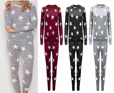 Women Ladies Kids Tracksuit Star Print Lounge-wear Set Sweatshirt Joggers Pant