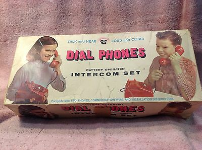 Vintage Red Dial Toy Telephone Intercom Set By Brumberger