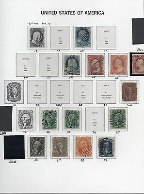 Old Classic Stamp Collection on Album Page (1857-61 Issues)  13 Stamps