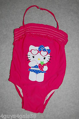 Toddler Girls Swimsuit DARK PINK One Pc HELLO KITTY Halter Strap RUFFLED Size 2T