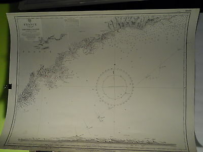 CM2609 Found in a treasure chest! Vintage nautical chart France South coast