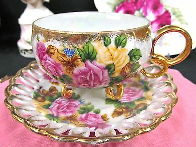 Royal Sealy Tea Cup And Saucer 3 Footed Ring Handle Roses  Teacup Open Edges