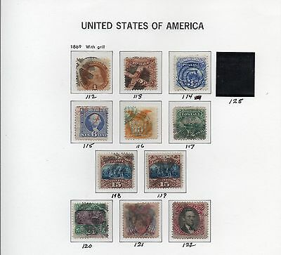 Old Classic Stamp Collection on Album Page (1869 Issues)  10 Stamps