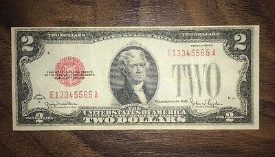 1928 2 Dollar Bill Red Seal Collectible Grade With Error.