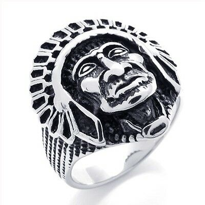 Super Cool Heavy Duty Stainless Steel Indian Chief Biker Ring