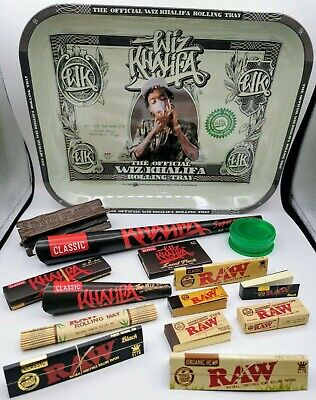 Wiz Khalifa Tray Smoking Kit Gift Set Raw Papers Roach Filter Tips Grinder Pipe