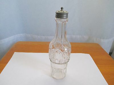 Antique Glass Castor Bottle With Raised Pattern And Shaker Top
