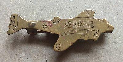 Ww2 Vintage Brass Trench Art Fighter Aircraft Badge