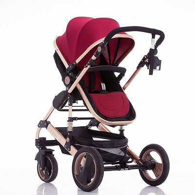 3 IN 1 Luxury Reversible Baby Toddler Stroller Buggy Foldable Pram With Bassinet