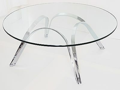 Roger Sprunger : Coffee Table Round Edition Dunbar 1970 Glass & Chrome Vintage