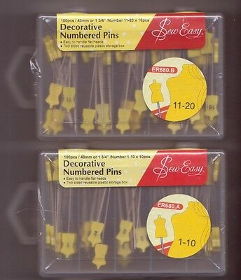 Decorative Numbered Pins Flat Dress Form 200 Pieces Dress Form 1-20  Sew Easy